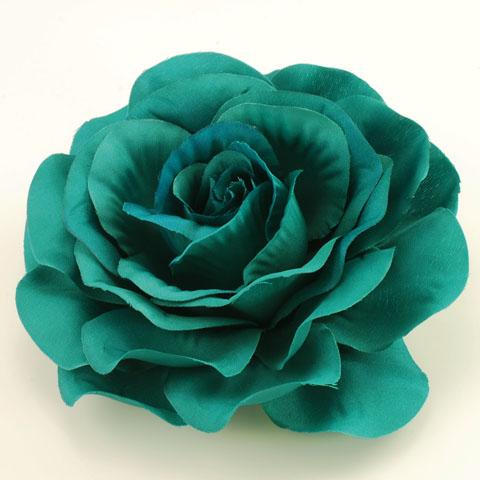 teal rose flower pin