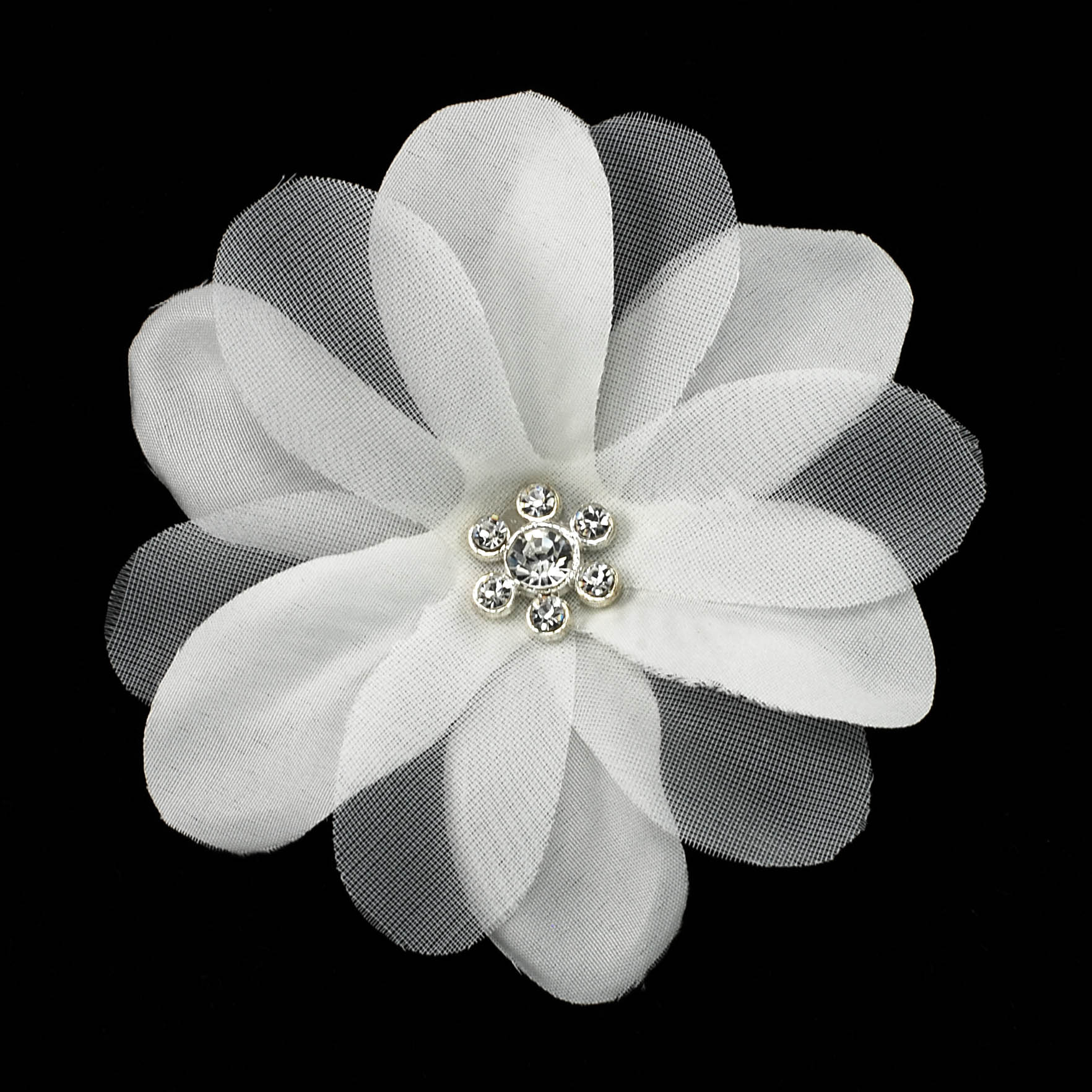 White Fabric Flower With Center Rhinestone
