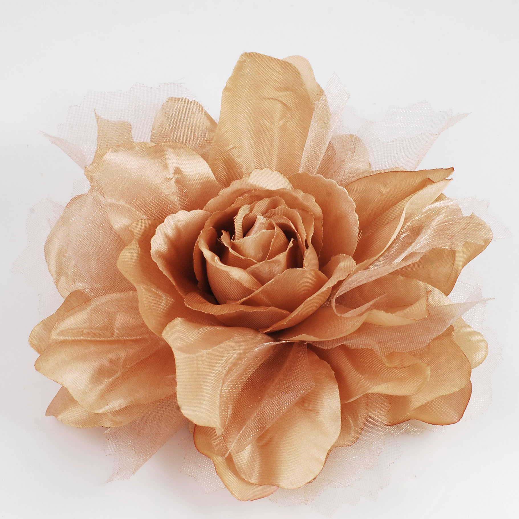Large Champagne Fabric Flower Pin