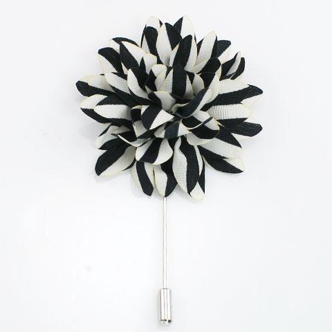 Black White Stripes Lapel Pin
