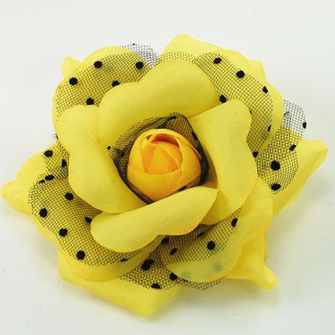 Yellow polka dot rose flower pin polka dot flower pin mightylinksfo