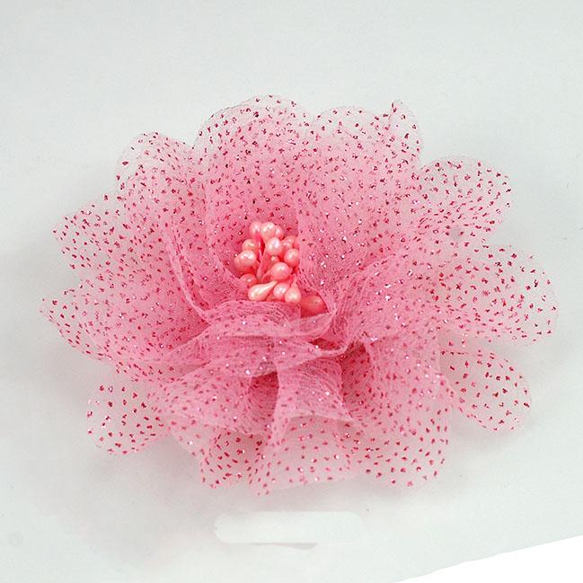 Pink glitter tulle flower pin artificial flower pin mightylinksfo