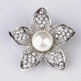Flower rhinestone brooch