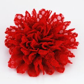 Red Lace Flower Pin