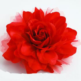 Large Red Fabric Flower Pin
