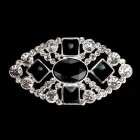 rhinestone brooch with black pearl