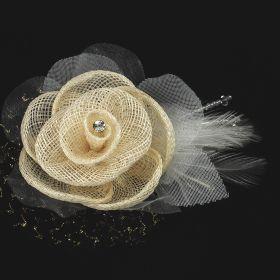 Linen Flower pin brooch