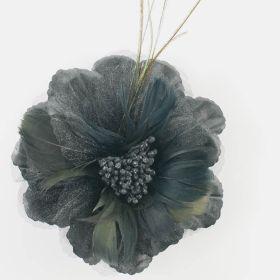 Feather flower brooch