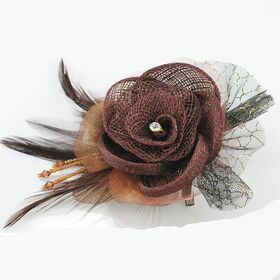 Linen Flower pin brooch