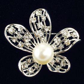 Floral rhinestone brooch