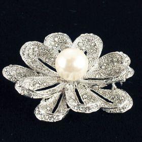 rhinestone brooch with center pearl