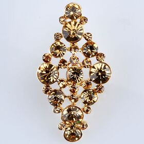 upright rhinestone gold brooch