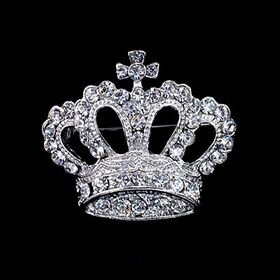 Silver Crown Brooches