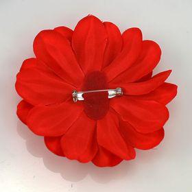 Red Satin Flower Pin