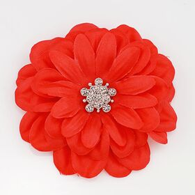 Red Satin Flower Pin