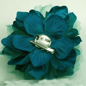 Teal fabric flower
